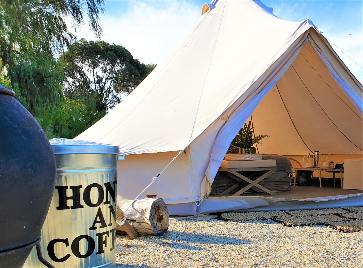 Honey and Coffee Bell Tent